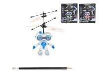 Vrtulník robot 15cm reagující na pohyb ruky USB nabíjecím kabelem se světlem - mix barev