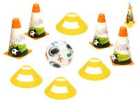 Futbalové kužele 18 cm 4 ks + méty 4 ks s loptou 12 cm