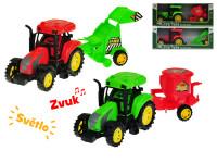 Traktor s prívesom 27 cm na zotrvačník na batérie so svetlom a zvukom - mix variantov či farieb