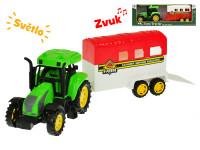 Traktor s prívesom pre kone 33 cm na zotrvačník na batérie so svetlom a zvukom - mix variantov či farieb