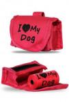 Taška na obojok + sáčky na psie exkrementy 15ks, ružová