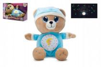 Medvedík Uspávačik modrý plyš 32cm na batérie so svetlom a zvukom v boxe 12m +