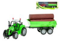 Traktor s vlečkou a drevom 34 cm na zotrvačník - mix farieb