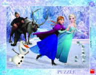 Puzzle Ľadové kráľovstvo / Frozen: Na korčuliach doskové 40 dielikov 37x29cm