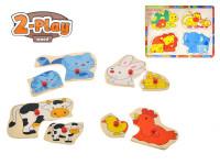 Vkladačka drevená 2-Play zvieratka 30x22,5 cm - mix variantov či farieb