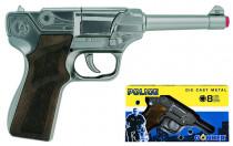 Policajné pištole strieborná kovová 8 rán - VÝPREDAJ