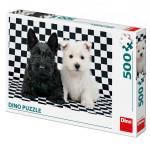 Puzzle dva psíkovia čiernobiele 47x33cm 500 dielikov