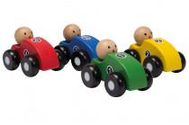 Dřevěná závodní autíčka 4 barvy
