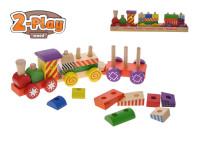 Vláčik + 2 vagóny drevený 33 cm 2-Play s kockami
