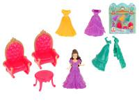 Princezná 10 cm s náhradnými šaty + nábytok