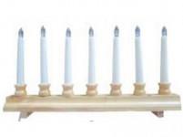 svietnik vianočné el. 7 sviečok LED, driev. prírodné 42,5x21,5x5cm, na batérie