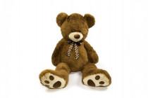 Medvěd s mašlí plyš 130cm tmavě hnědý
