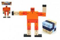 Kostka hlavolam robot dřevo 6cm modrá