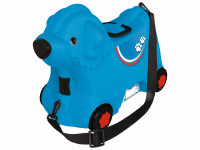 Kufrík odrážadlo psík modrý s kolieskami