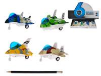Letadlo 10 cm kov zpětný chod na baterie se světlem a zvukem - mix variant či barev