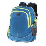 Batoh školní dvoukomorový, modrý, žluté zipy, profilovaná záda, 26 l