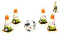 Futbalové kužele 18 cm 4 ks s loptou 12 cm