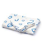 Dětské povlečení 120 x 90 cm, flanelové se zipem bez aretace v bílé barvě s modrým srdcem, Cuculo