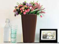 Samozavlažovací kvetináč GreenSun OXYGENS 24 x 24 cm, výška 41 cm, hnedý