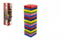 Hra Jenga veža drevo 54ks farebných dielikov hlavolam v krabičke 8x29cm