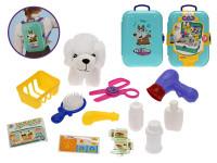 Zvierací obchod / batoh 2 v1 s maznáčikom 11 cm a doplnky 16 ks v kufríku