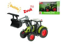 Traktor nakladač 24 cm 1:16 na setrvačník na baterie se světlem a zvukem