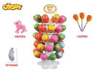 Cosby vajíčko 8 cm s překvapením - hračka, lízátko a samolepka 50 ks na stojánku - 50 ks - mix variant či barev