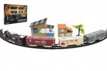 Vlak + 3 vagóny s koľajami s doplnkami plast 104x68cm na batérie so svetlom