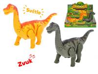 Brontosaurus 23 cm chodiaci na batérie so svetlom a zvukom - mix farieb