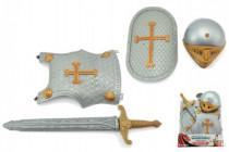 Rytířská sada meč štíty přilba plast 40x53cm