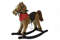 Kůň houpací hnědý plyš na baterie se zvukem a pohybem nosnost 50kg