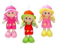 Bábika handrová s čiapočkou 35 cm - mix farieb