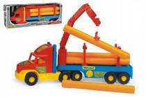Auto Super Truck stavební návěs s rukou a rourami Wader 76cm - mix barev