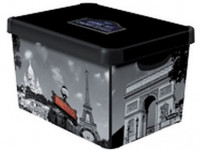 box úložný PARIS 39,5x29,5x25,0cm (L) s vekom, plastový