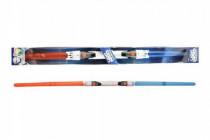 Svítící meč 2v1 plast 89cm rozložitelný vysouvací se světlem se zvukem na baterie