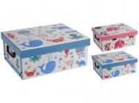 box úložný 37x30x16cm s víkem, dětský, karton - mix variant či barev