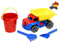 Nákladné auto 29 cm so sadou na piesok - vedierko, lopatka a hrabličky