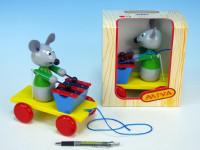 Myš s xylofonem dřevo tahací 20cm
