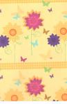 Balicí papír 100 x 70 cm 2 ks žlutá - barevné květiny
