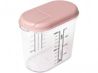 bulk food container 1,0l oval with print. plastic, opening lid - mix of colors - VÝPREDAJ