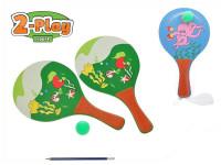 Plážová sada pálky 2-Play 2 ks 33x19 cm s míčkem - mix variant či barev