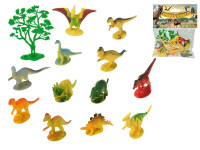 Dinosaury 6-8 cm + stromček 13 ks - mix variantov či farieb
