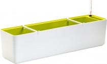 Plastia truhlík samozavlažovací Berberis - biela + zelená 80 cm
