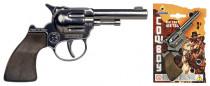 Revolver kovbojský strieborný kovový