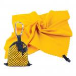 Spokey NEMO Rýchloschnúci uterák 40x40 cm, žltý s karabínou - VÝPREDAJ