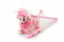 Pes / psík Pudel na tyčke ružový chodiace a hrajúci plyš na batérie 30cm