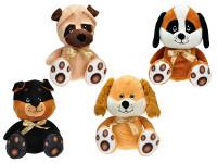 Pes plyšový sediaci 25 cm s mašľou - mix variantov či farieb