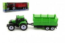 Traktor s přívěsem plast 28cm - mix barev