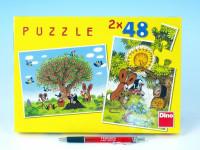 Puzzle Krtek Léto s Krtečkem 26,4x18,1cm 2x48 dílků