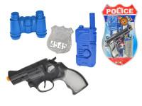 Policajné set 4 ks - pištoľ Klapač 18 cm s doplnkami